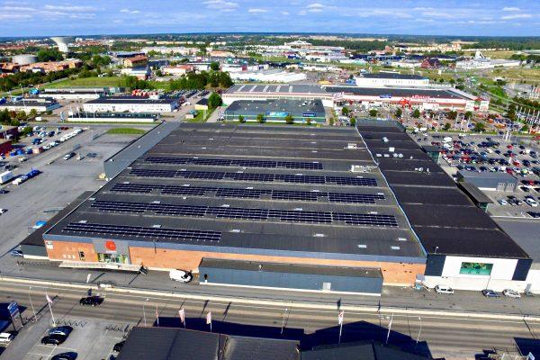 Solceller på Castellums fastighet Bolandcity i Uppsala