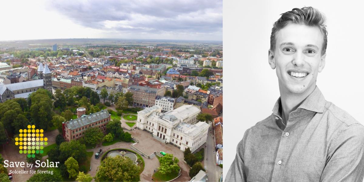 Lundagård i Lund och foto på regionsansvariga Carl-Johan Fredman hos Save by Solar