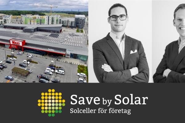 Hugo Larsson och Linus Werner på bild tillsammans med en solcellsanläggning på ICA Maxi Barkarbystaden