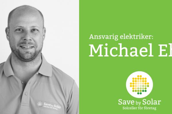 Michael Ehn, som är ansvarig elektriker på Save by Solar.