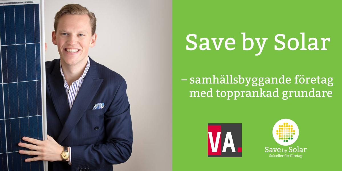 Bild på Save by Solars grundare Hugo Larsson, som blivit utsedd till supertalang inom kategorin samhällsbyggare.