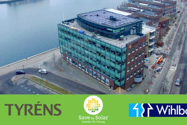 Solceller på Tyrénshuset i Malmö, som ägs av fastighetsbolaget Wihlborgs.