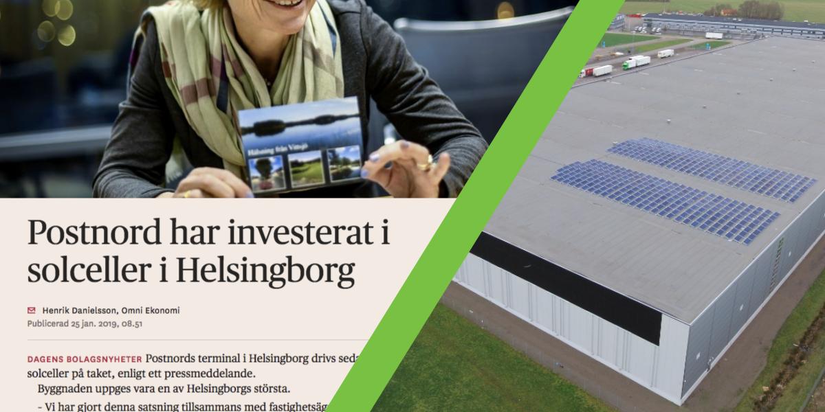 Save by Solar har installerat solceller åt fastighetsbolaget Bockasjös hyresgäst PostNord.