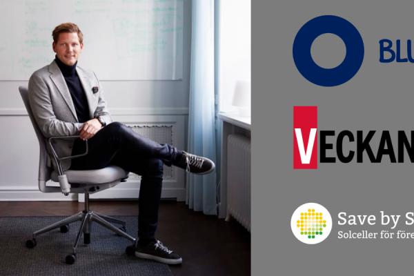 Save by Solars styrelseledamot Anders Jacobson, även VD för investmentbolaget Blue, har blivit utsedd till årets supertalang 2019 av Veckans Affärer.