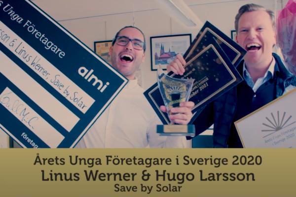 Grundarna av Save by Solar, Hugo Larsson och Linus Baihofer Werner, har blivit utsedda till Årets Unga Företagare i Sverige 2020